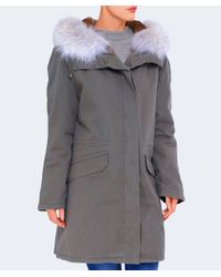 Yves Salomon - Green Cotton Canvas Fur-lined Parka - Lyst