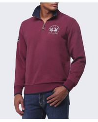 La Martina - Purple Contrast Collar Zip Sweater for Men - Lyst