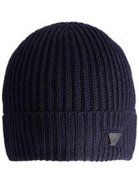 Armani Jeans - Blue Wool Beanie Hat for Men - Lyst