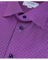 Eton of Sweden - Pink Slim Fit Micro Check Shirt for Men - Lyst
