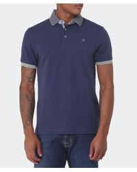 Hackett - Blue Slim Fit Striped Collar Polo Shirt for Men - Lyst