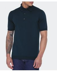 John Smedley - Blue Standard Fit Adrian Polo Shirt for Men - Lyst
