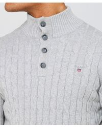 Gant - Gray Cotton Cable Knit Mock Neck Jumper for Men - Lyst