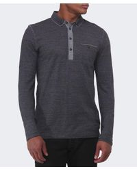 BOSS Orange - Black Patcherman Long Sleeved Polo Shirt for Men - Lyst