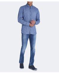 BOSS Orange - Blue Slim Fit Cattitude Creative Shirt for Men - Lyst