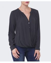 Velvet By Graham & Spencer - Gray Ganesa Drape Blouse - Lyst