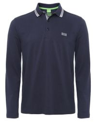 BOSS Green | Blue Modern Fit Plisy Polo Shirt for Men | Lyst