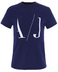 Armani Jeans | Blue Logo Draw T-shirt for Men | Lyst