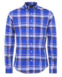GANT | Blue Fitted Broadcloth Plaid Heather Shirt for Men | Lyst