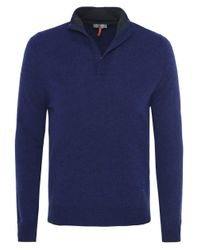 Cerruti 1881 | Blue Half Zip Wool Jumper for Men | Lyst