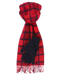 Barbour | Red Lambswool Scarf & Gloves Gift Set for Men | Lyst