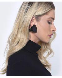 Monies - Black Wooden Clip On Earrings - Lyst
