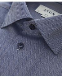 Eton of Sweden | Blue Slim Fit Herringbone Cambridge Twill Shirt for Men | Lyst