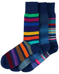 Paul Smith | Blue Three Pack Of Striped Socks for Men | Lyst