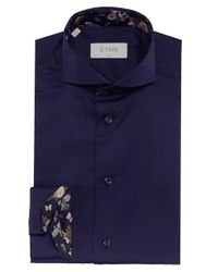 Eton of Sweden | Blue Slim Fit Floral Trim Shirt for Men | Lyst