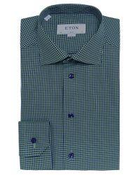 Eton of Sweden | Green Slim Fit Micro Check Shirt for Men | Lyst