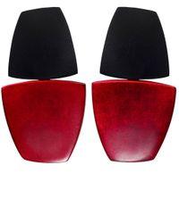 Monies | Red Clip On Ebony Drop Earrings | Lyst