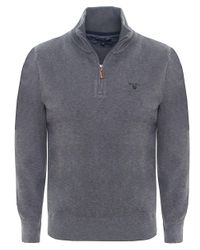 Gant - Gray Sacker Half Zip Rib Knit Jumper for Men - Lyst