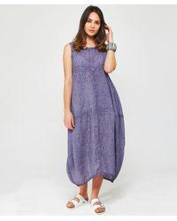 Grizas - Purple Washed Linen Midi Dress - Lyst