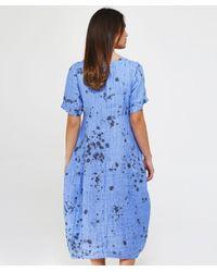Grizas - Purple Linen Long Bubble Hem Dress - Lyst