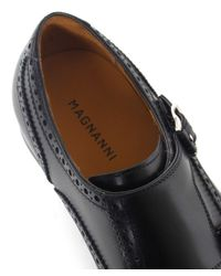 Magnanni Shoes - Black Double Monk Strap Leather Shoes for Men - Lyst