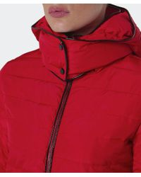 Armani Jeans - Red Hooded Puffa Coat - Lyst