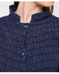 Grizas - Blue Linen Short Waffle Jacket - Lyst