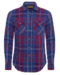 b013fe29bb4 Barbour Slim Fit Dominic Check Shirt in Blue for Men - Lyst