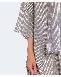 Moyuru - Gray Textured Striped Top - Lyst