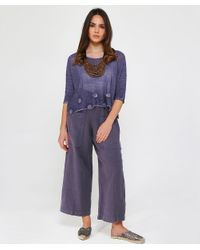 Grizas - Blue Linen Cropped Pocket Trousers - Lyst