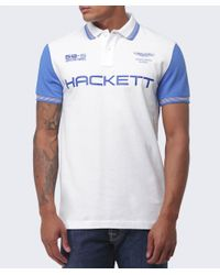 Hackett - White Aston Martin Racing Contrast Tipped Polo Shirt for Men - Lyst