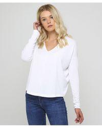 Rag & Bone - White V-neck Hudson Long Sleeve Top - Lyst