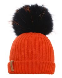 BKLYN - Orange Merino Wool Beanie Bobble Hat - Lyst