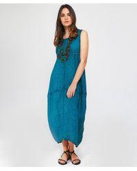 Grizas - Blue Washed Linen Midi Dress - Lyst