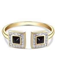 SHAY - Metallic Double Onyx Open Ring - Lyst