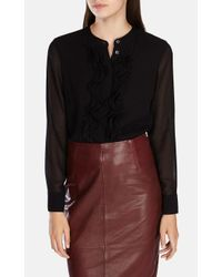 Karen Millen | Black Draped High Neck Blouse | Lyst