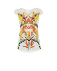 Karen Millen | Bird-print T-shirt - White/multi | Lyst