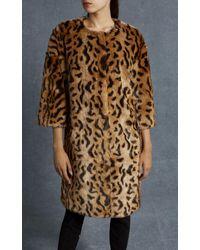 Karen Millen - Multicolor Leopard Print Faux Fur Coat - Leopard Print - Lyst