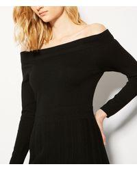 Karen Millen - Black Knitted Bardot Dress - Lyst