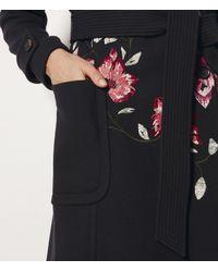 Karen Millen | Blue Embroidered Trench Coat | Lyst
