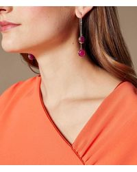 Karen Millen - Multicolor Logo Stud Drop Earrings - Lyst