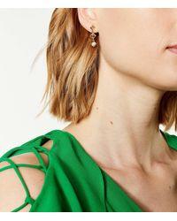 Karen Millen - Metallic Pyramid Pearl Earrings - Lyst
