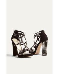 Karen Millen - Studded Platform Sandal - Black - Lyst