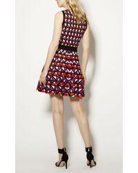 Karen Millen - Geometric Knitted A-line Dress - Red/multi - Lyst