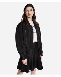 Karl Lagerfeld Black Satin Button-sleeve Bomber Jacket