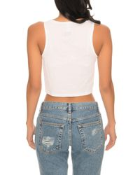 Kill Brand - The Fe Script Crop Top In White - Lyst