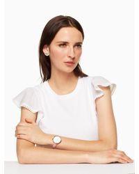 Kate Spade - Multicolor Park Row Pink Leather Watch - Lyst