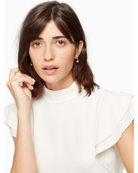 Kate Spade - Metallic Disco Pansy Pave Hoops - Lyst