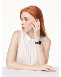 Kate Spade - Multicolor Metro Floral Navy Leather Watch - Lyst