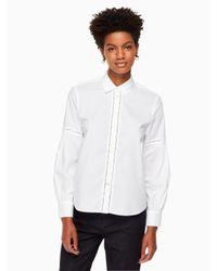 Kate Spade - White Puff Sleeve Poplin Shirt - Lyst